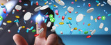 Businessman holding and touching floating medicine pills 3D rendering - 183465867