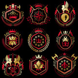 Set of vector retro vintage insignias created with design elements like medieval castles, armory, wild animals, imperial crowns. Collection of coat of arms. - 183470853