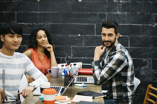 Content diverse workers in office