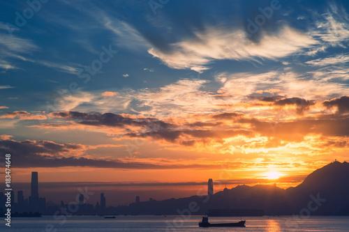 Plexiglas Zonsopgang Sunrise over Hong Kong, view from Lantau Island, toned