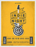 Rock Night Party Poster. Flyer. Vintage Styled Vector Illustration. - 183478094