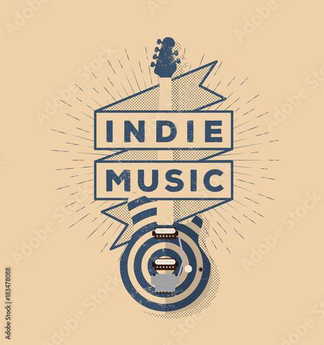 Plexiglas Vintage Poster Indie Rock Music Vintage Styled Badge Design. Template for your poster, flyer, banner, design. Vector illustration.