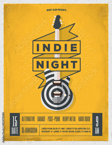 Rock Night Party Poster. Flyer. Vintage Styled Vector Illustration.