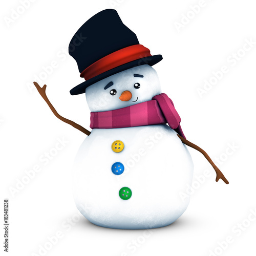 Muñeco de nieve con fondo blanco