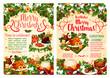 Christmas dinner festive banner of winter holidays - 183483006