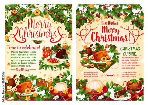 Fototapeta Christmas dinner festive banner of winter holidays