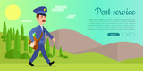 Post Service Vector Web Banner with Postman - 183484655