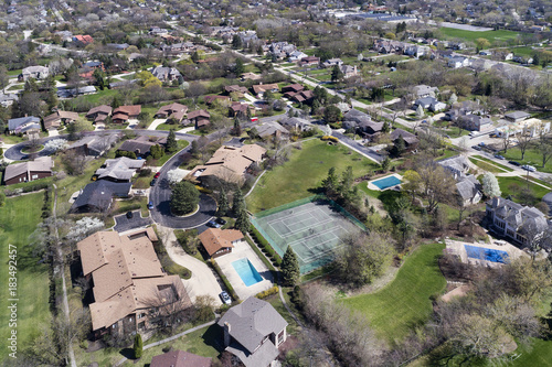 Plexiglas Chicago Aerial View of Suburban Neighborhood