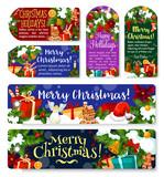 Christmas holidays vector greeting gift tags - 183493233