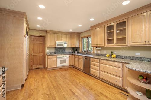 Fridge magnet Kitchen with oak wood cabinetry