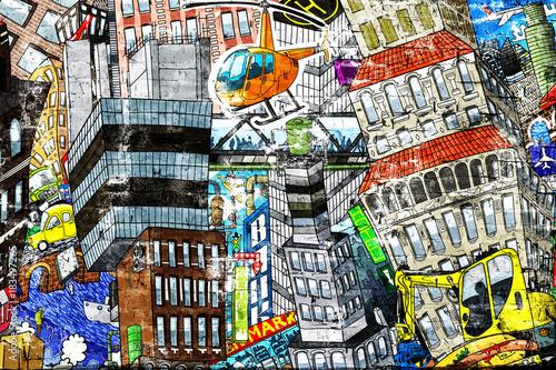 graffiti,-miasto,-koparka,-helikopter