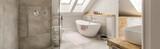 Grey bathroom in attic