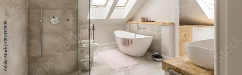 Fototapeta Grey bathroom in attic