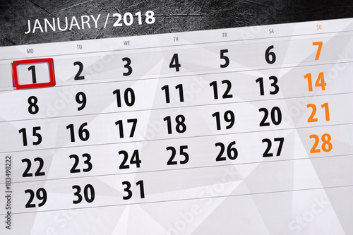 the daily isolated calendar 2018 on the day of January 1 Poster