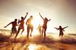 Big company of friends having fun at sunset beach