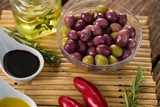 Marinated olives with ingredients