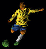 soccer player kicking the ball made of colorful brushstrokes on dark background - 183501617