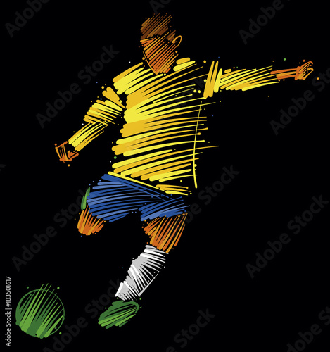 In de dag Bol soccer player kicking the ball made of colorful brushstrokes on dark background