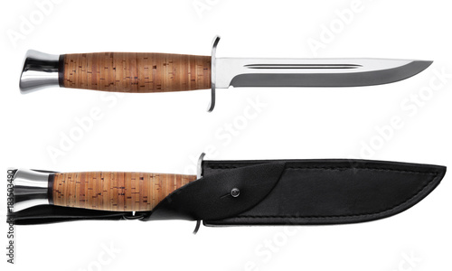 Fototapeta Hunting knife with wooden handle and leather case isolated on white