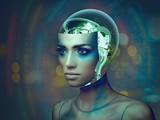Cybernetic organism, female portrait with science and technology abstract backgrounds - 183503614