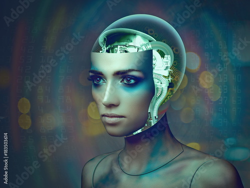Cybernetic organism, female portrait with science and technology abstract backgr Poster