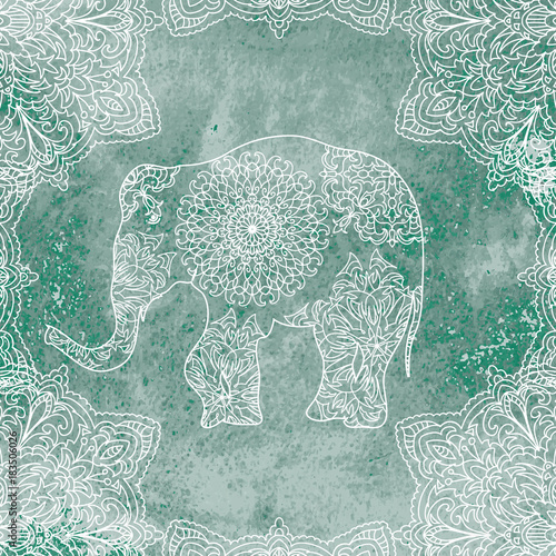 Elephant Mandala on watercolor background - 183506026