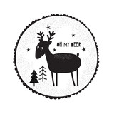 Illustration with cute dudle deer