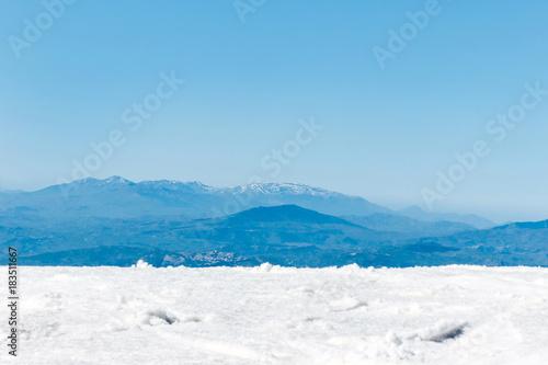 Staande foto Wit landscape of mountain peak in winter