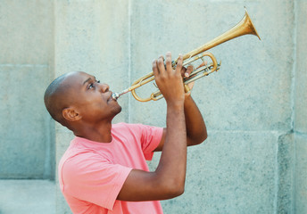 African american artist with trumpet