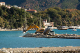 Construction of marina for yachts in the sea - 183514425