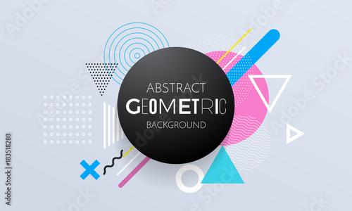 Abstrakcjonistyczny geometryczny deseniowy tło okręgu, kwadrata i trójboka elementy dla nowożytnego modnego projekta szablonu ,. Wektor geometrii tło lub kolor graficzny tekstura tło na plakat lub banner
