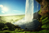 Seljalandfoss waterfall in summer time, Iceland - 183518864