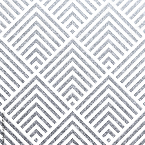 Abstract geometric silver pattern background of square or triangle mesh ornament seamless tiles for modern design template. Vector geometry backdrop or silver glitter texture on white background - 183520462
