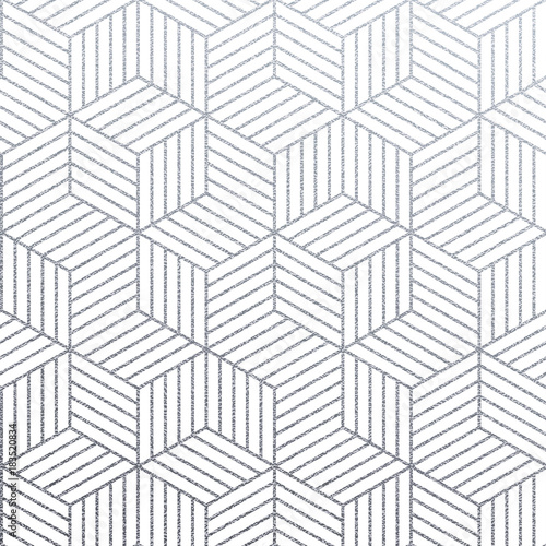 Geometric silver 3D cubes seamless pattern with glitter texture of abstract line mesh on white background. Vector silver glittering ornament for woven textile tile or modern backdrop swatch design - 183520834