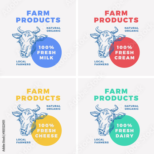 farm dairy products abstract vector sign symbol or logo template