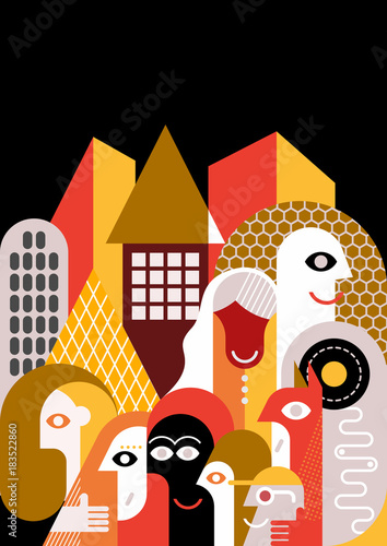 Deurstickers Abstractie Art Large group of people flat style design