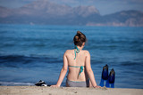 girl with snorkeling gear  - 183524490