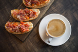 hot coffee cup with bruschetta - 183524491