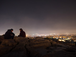 View of Athens city by night