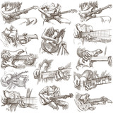 An hand drawn collection, full sized pack - GUITAR SOLO, hand drawings on white, isolated. - 183524812