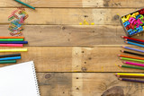 School supplies on wood background ready for your design - 183524818