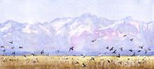 """Постер, картина, фотообои """"Mountains and birds landscape."""""""
