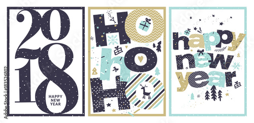 Set of new years greeting card flat design vector illustration set of new years greeting card flat design vector illustration template for greeting cards m4hsunfo