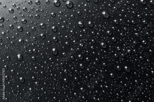 Water drops on a black surface, abstract background. - 183527651