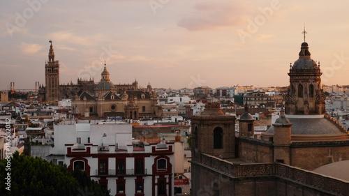 Seville City Skyline at Sunset