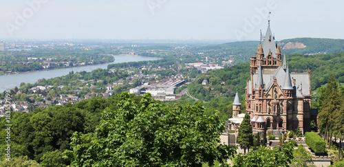 Leinwanddruck Bild Drachenburg Castle overlooking the river Rhine and the city of Bonn
