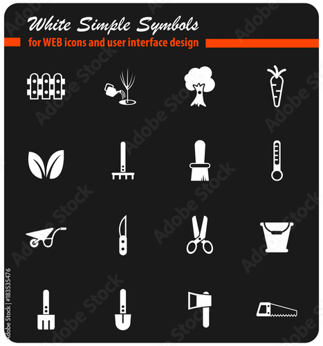 gardening white icon set