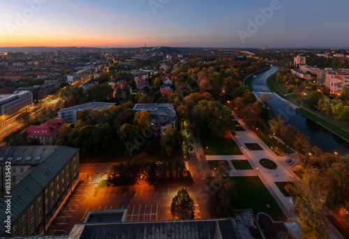 Panorama of the Ostrava city skyline in the evening Poster