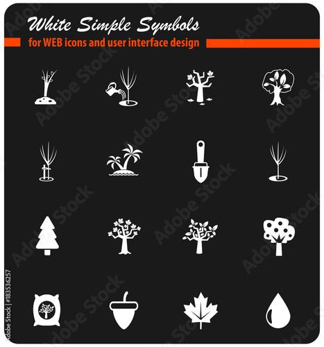 trees tools white icon set
