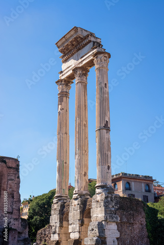 Tuinposter Rome High clear temple of Dioscures ruins in Rome, Italy